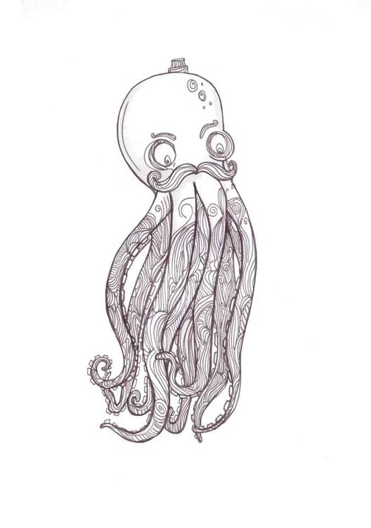 Gentleman Octopus - doodle, sketch - kwebberillustrations | ello