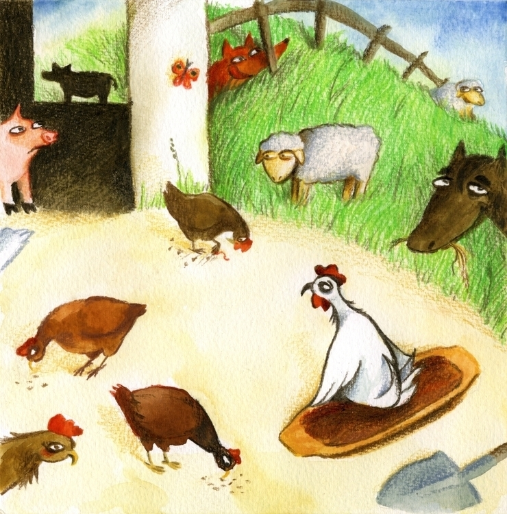 Rooster yard - illustration, children'sillustration - prianikn | ello