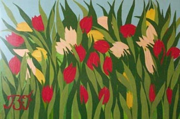 Le champ de tulipes 100cm 150cm - bakkach | ello