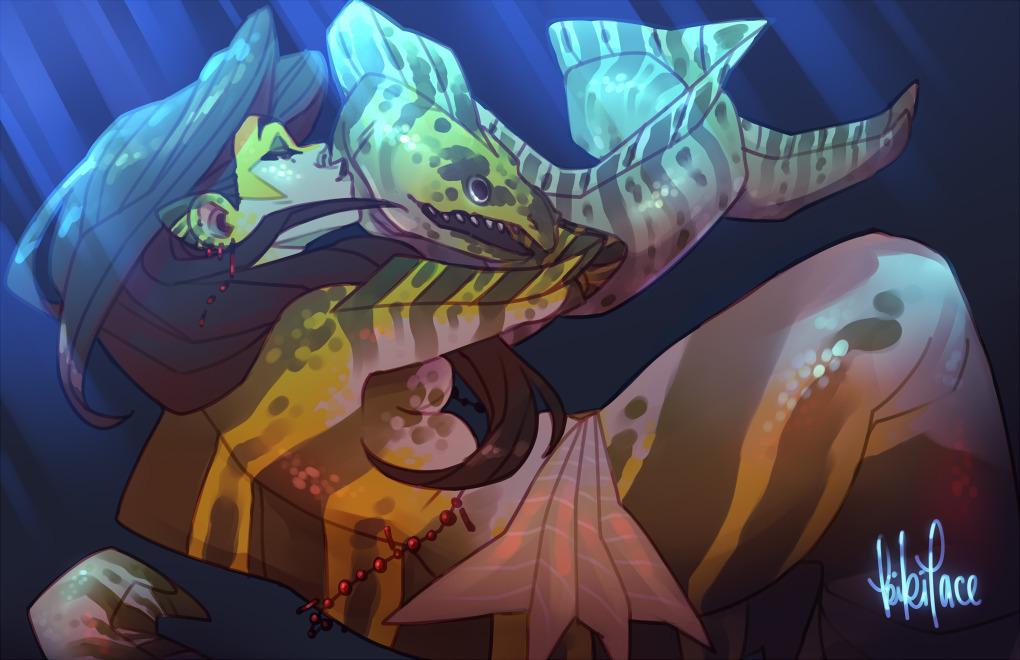 Kissy baby - mermaid, eel, morayeel - kikiface | ello
