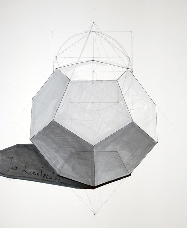 Dodecahedron, platonic solid Tr - jandraws | ello