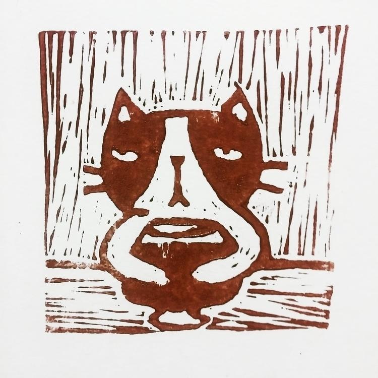 vine - cat, linocut, linoprint, linoleumprint - prianikn | ello