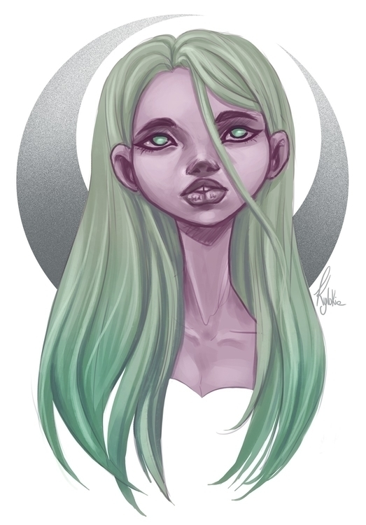 moon,green,cartoon,digitalart,photoshop - kylukia | ello