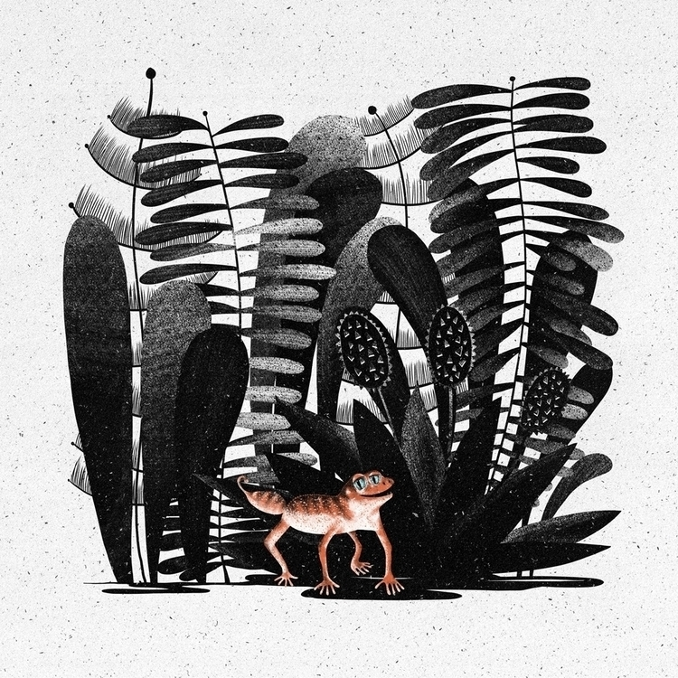 #illustration, #gecko, #plants - wrapzly | ello