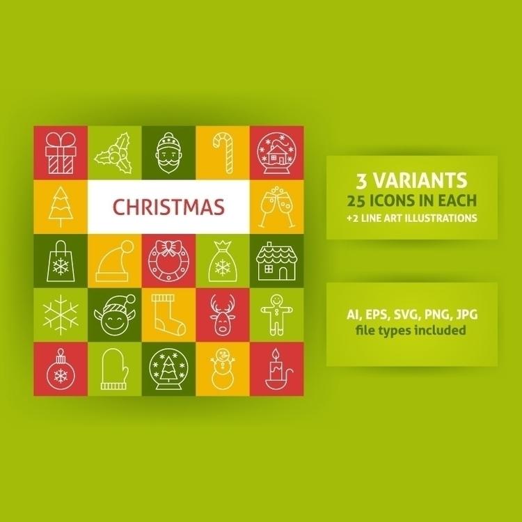 Merry Christmas Line Art Vector - anna_leni   ello