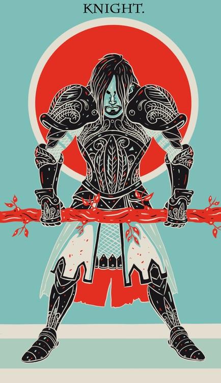 Knight Wands - illustration, tarot - wingywonky-5811 | ello