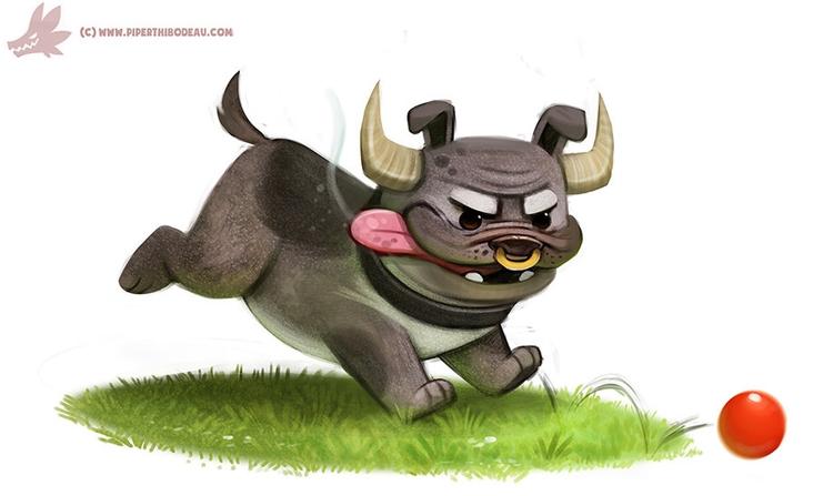 Daily Paint BullDog - 1088. - piperthibodeau | ello