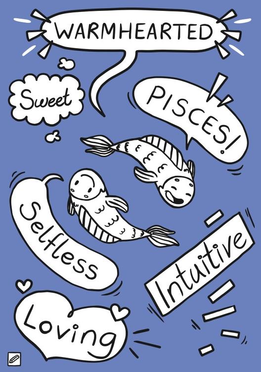 Pisces - illustration, zodiac, series - pencilboxillustration | ello