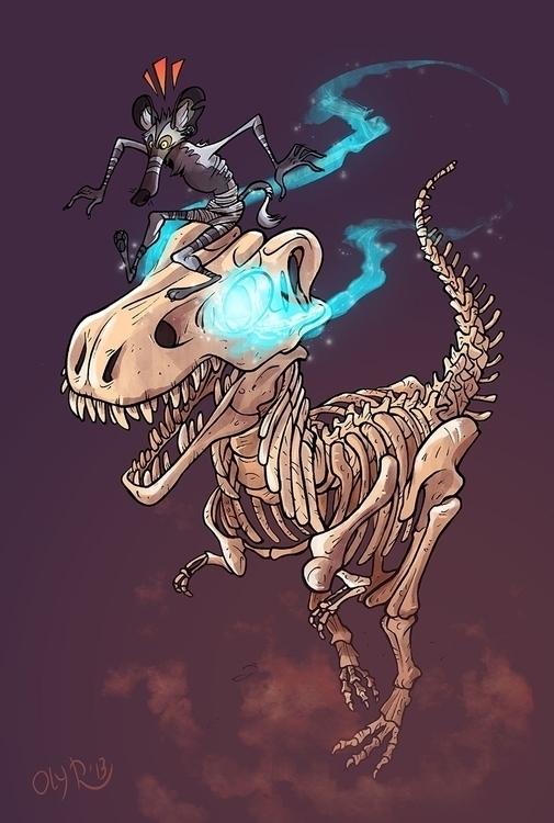 art trade - dinosaur, zombie, skeleton - pcsoly | ello