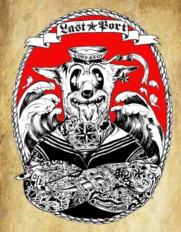 PORT vodkaboy sailor dog - typography - thanathan | ello