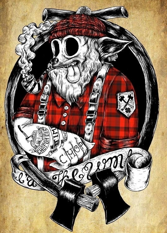 vodkaboy lamber dog - illustration - thanathan | ello