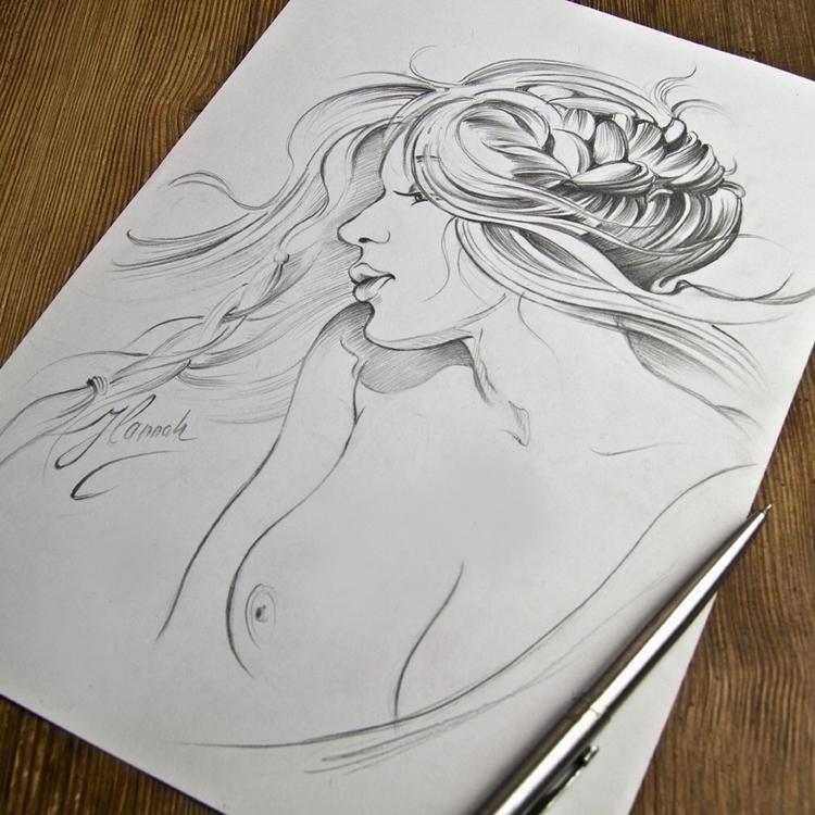 Kiss Wind - original pencil dra - annahannahart | ello