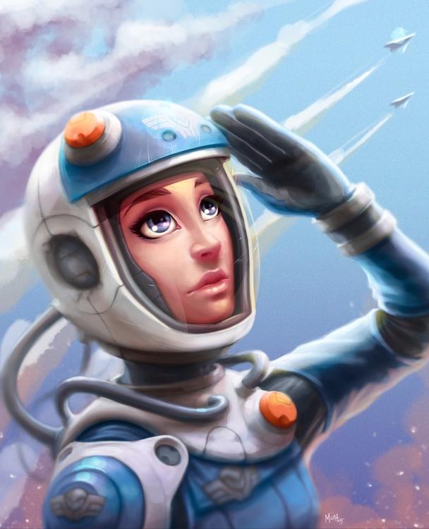 Space Cadet - illustration, painting - adman2808 | ello