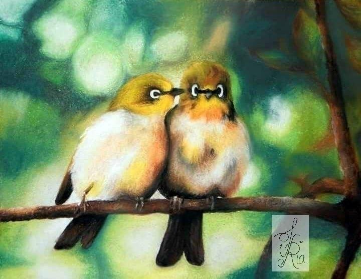 Bird IV - chalkpastels, bokeh, love - fariafiroz26 | ello