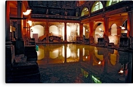 Night Roman bath Bath, England - leo_brix | ello