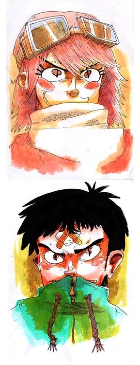 FLCL - massavage, watercolor, fanart - massavage | ello