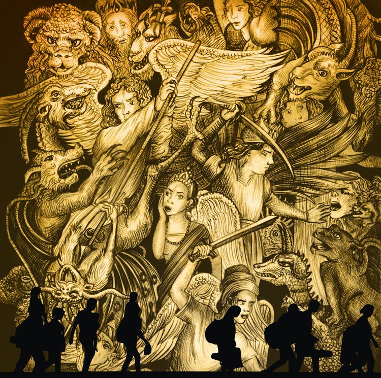 illustration, drawing, angelsanddemons - kamaarts | ello