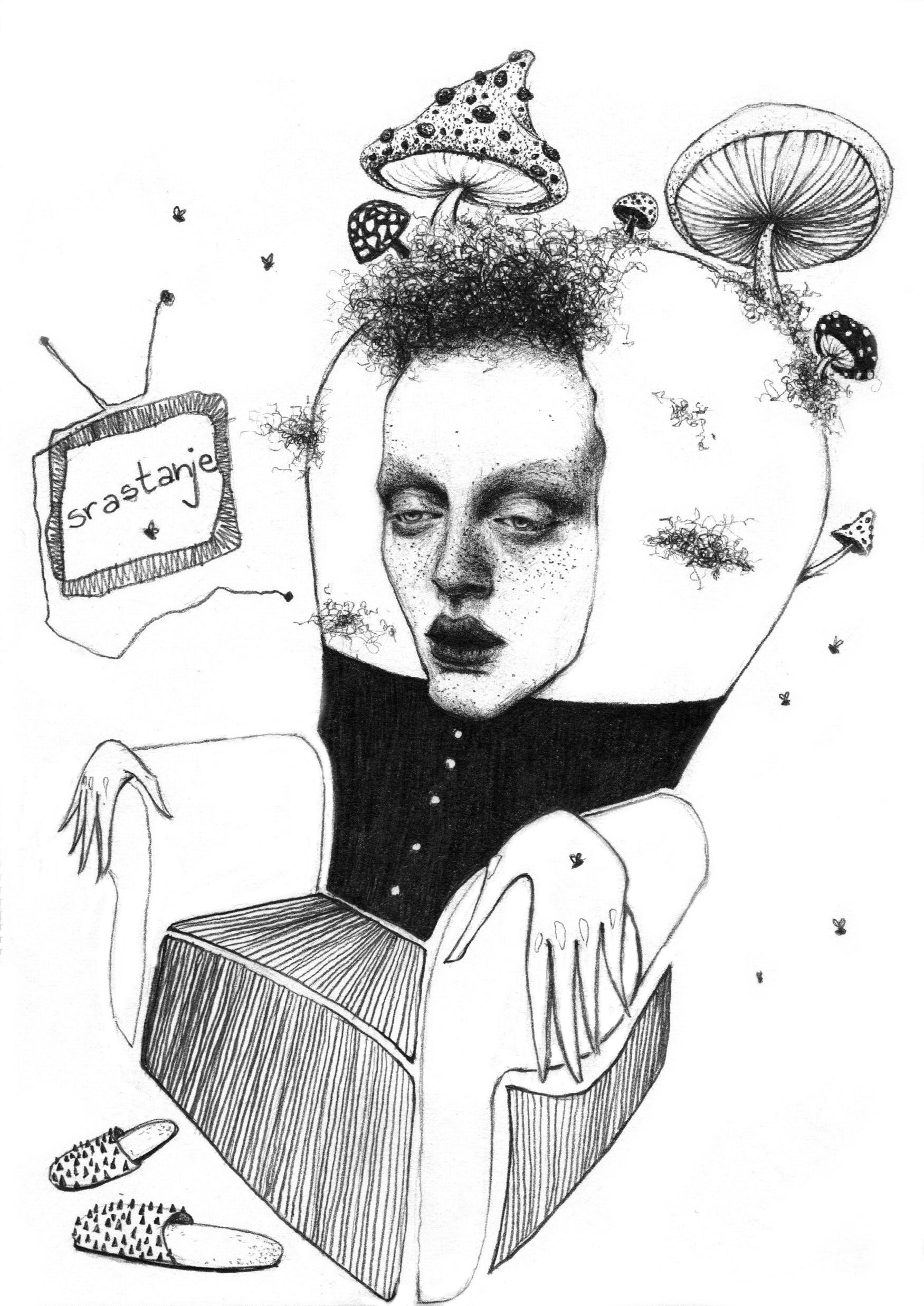 Coalescence - portrait, fungi, pencildrawing - natasakonjevic   ello