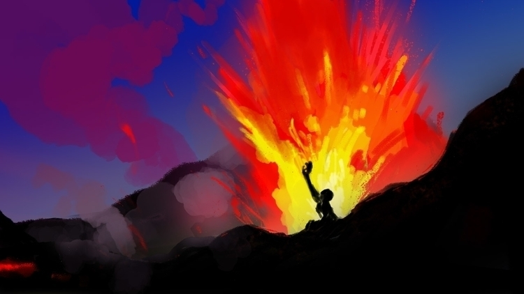 Rising lava - illustration, digitalillustration - flightlessbutstilltrying | ello