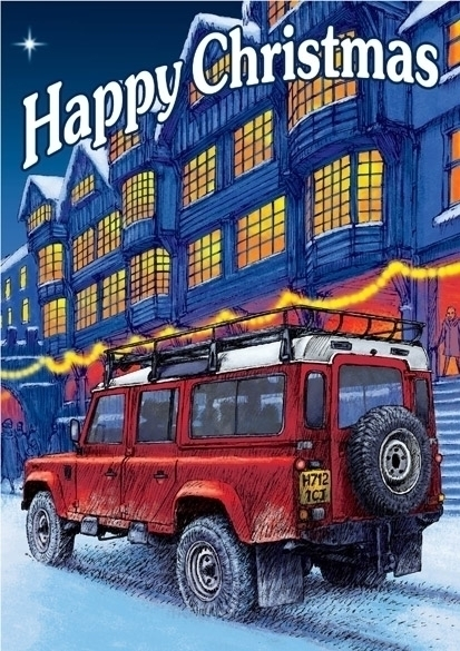 Christmas Land Rover - illustration - dannybriggs   ello