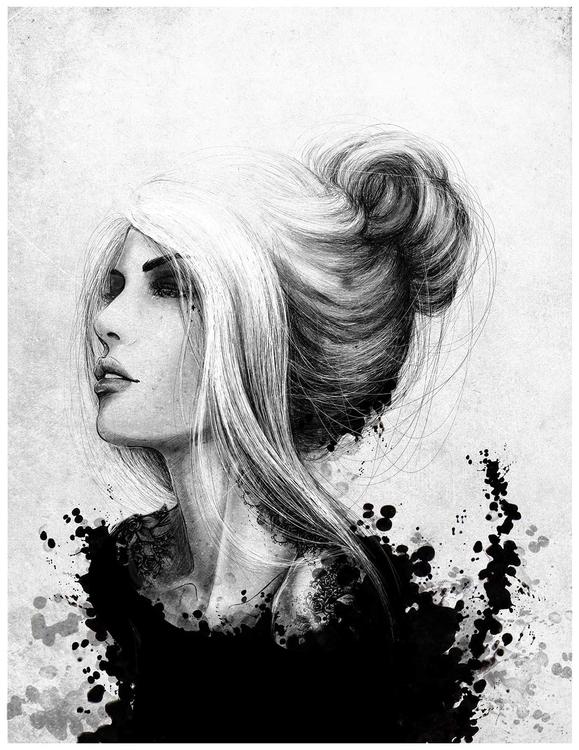 woman sketch - girl, hair, characterdesign - tenenbris | ello