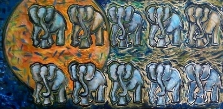 Elephant Walk - painting, elephants - michele-1314 | ello