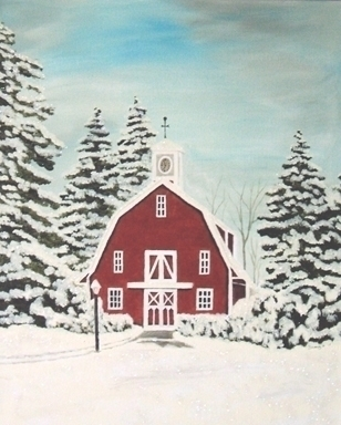 Red Barn - painting - brandyhouse | ello