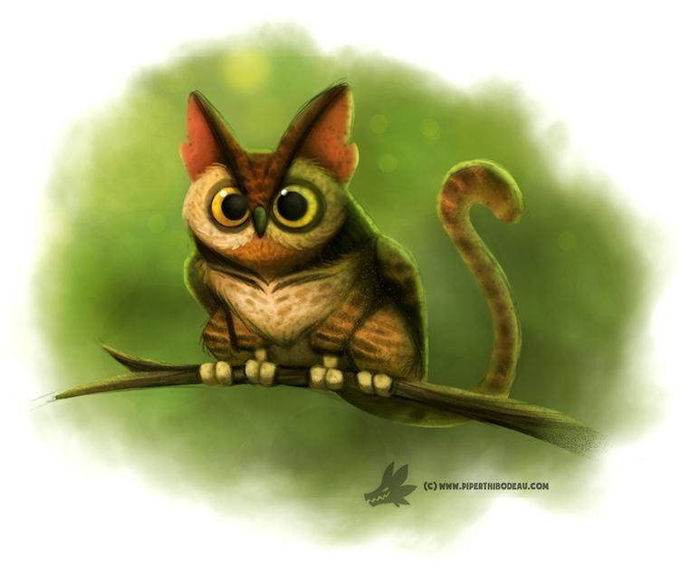 Daily Paint Cat-Owl - 1020. - piperthibodeau | ello