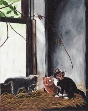 Kittens Playing - painting - brandyhouse | ello