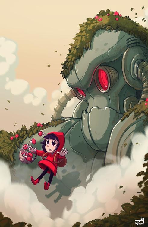 Robot - mushroom, girl, robot - justinchan-1699   ello