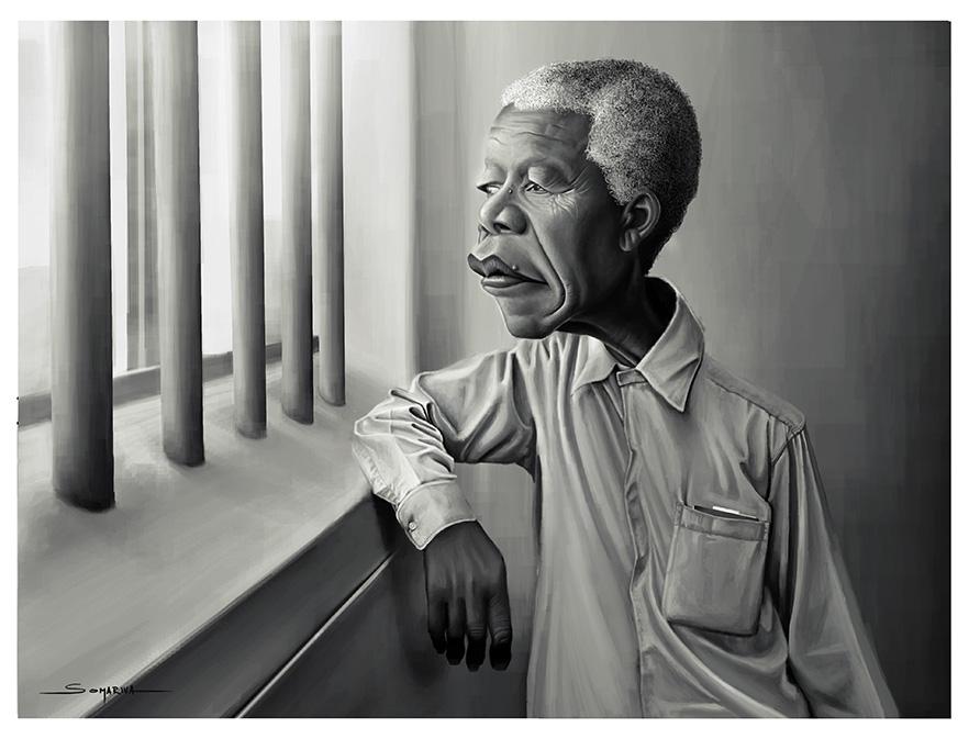 Mandela - caricature, portraitillustration - lucassomariva | ello