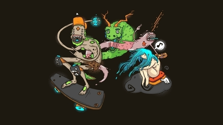 Crazy Skating - illustration, skate - alejandrodas | ello