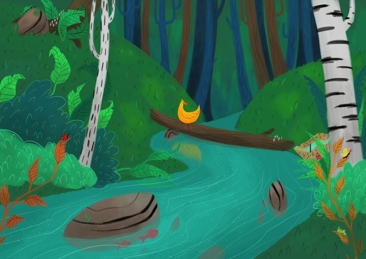 Duck forest - illustration, painting - hedif   ello