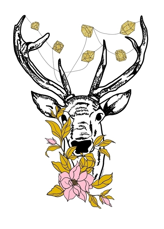 Deer crystals flowers - illustration - gretaberlin | ello