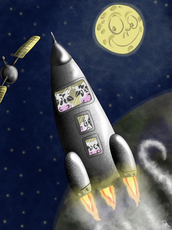 cows jumped moon!! rocket!  - space - dmerchen | ello