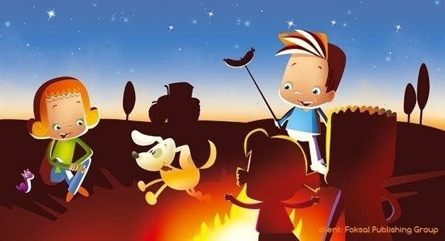 fire - illustration, dog, night - marcinpoludniak | ello