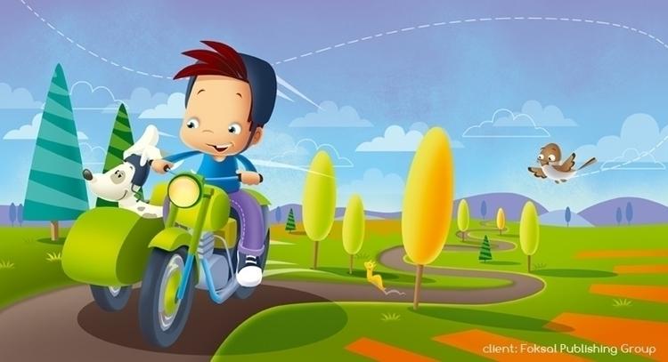 motorcycle - illustration, road - marcinpoludniak | ello