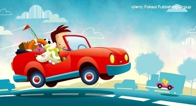 car - illustration, dog, street - marcinpoludniak | ello