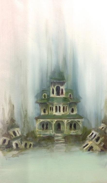 Abandoned houses curious fog - oilpainting - sarakdunn | ello