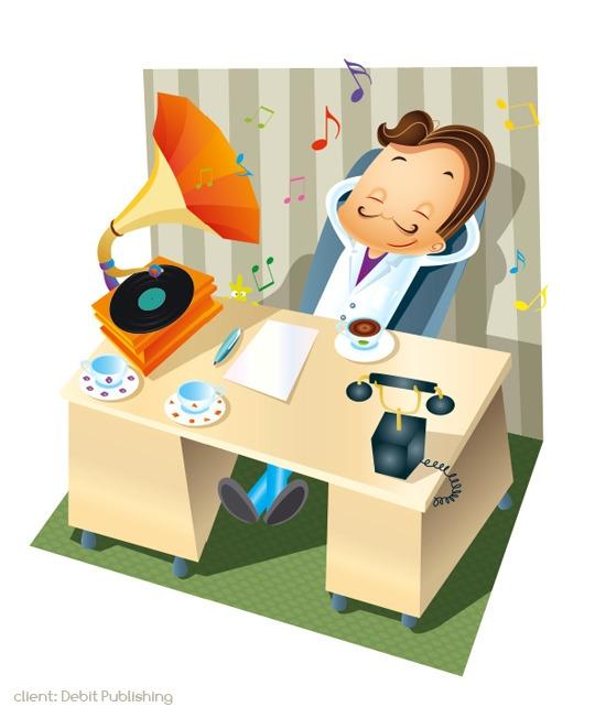 office - illustration, gramophone - marcinpoludniak | ello