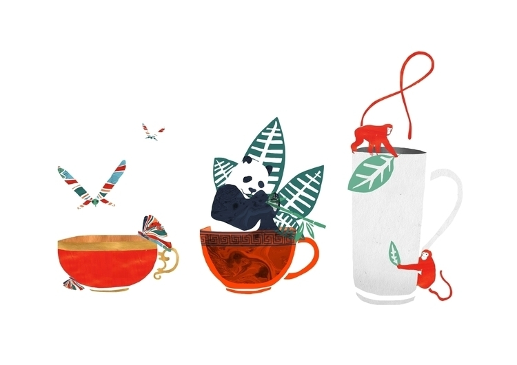 Animal Tea - illustration, tea, collage - lisastatham | ello