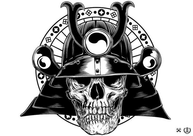 Gashadokuro - skull, samurai, illustration - e1_since1987 | ello