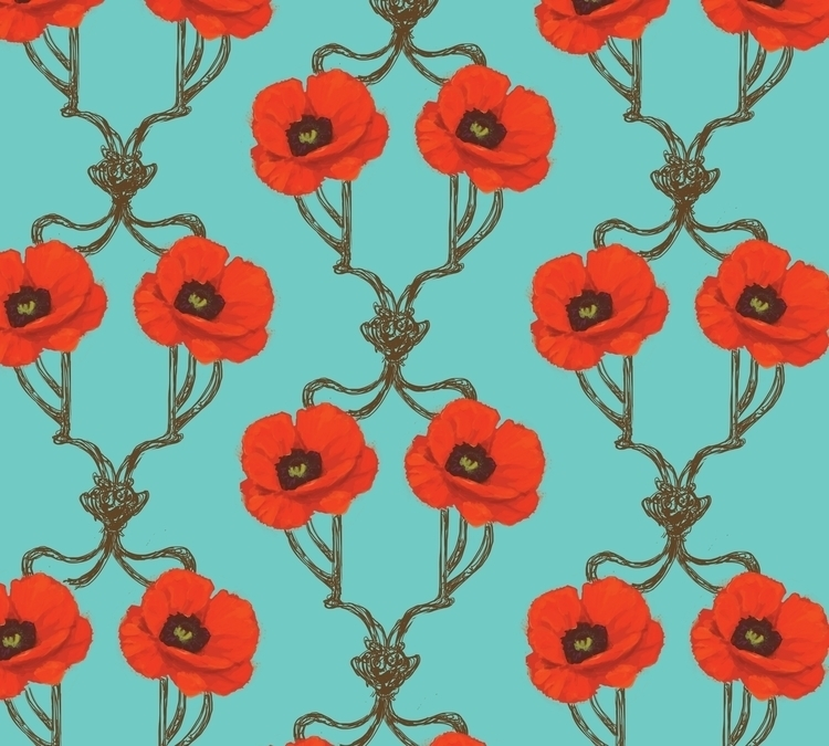 Art Nouveau poppy pattern - poppies - sarakdunn | ello