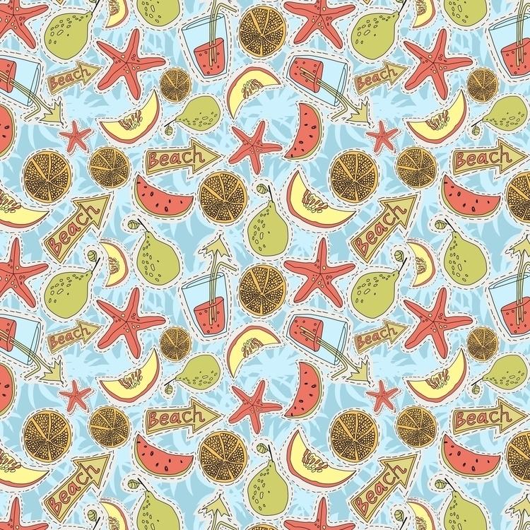 Funny summer fruits - pattern, patterndesign - gretaberlin | ello