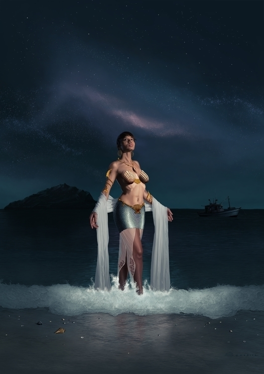 sea, woman, lemaya, yemaya, photoshop - lucassomariva | ello