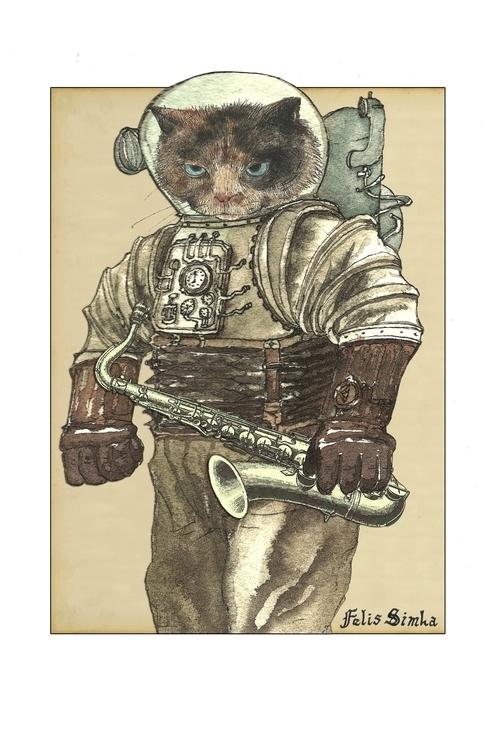 Space Cat Saxophone Felis Simha - felissimha | ello