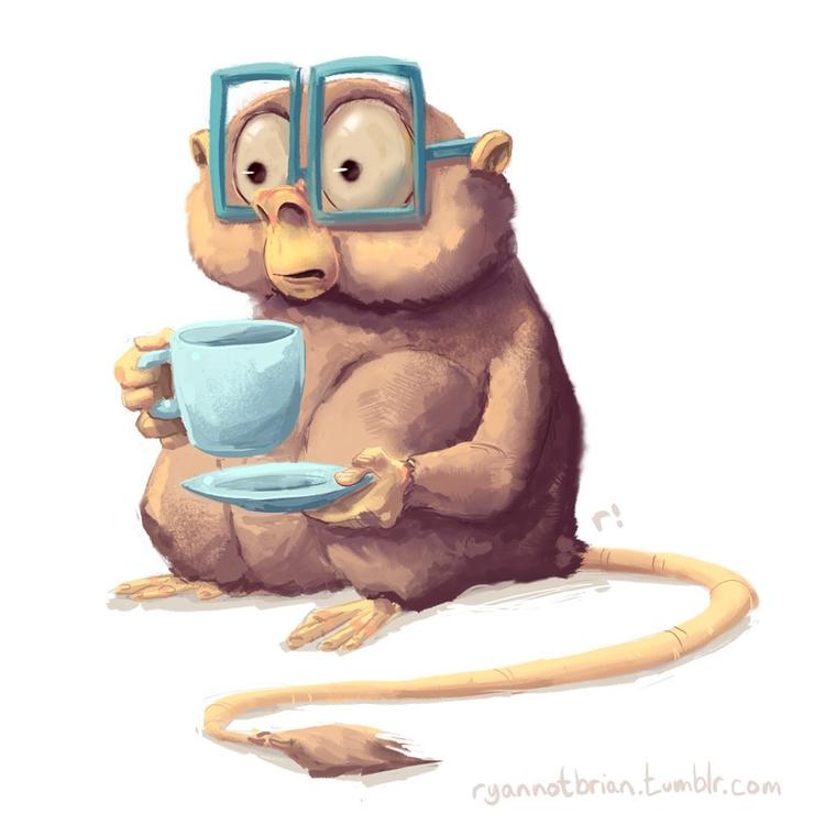 Tarsier drinking coffee - Monkey - ryannotbrian | ello