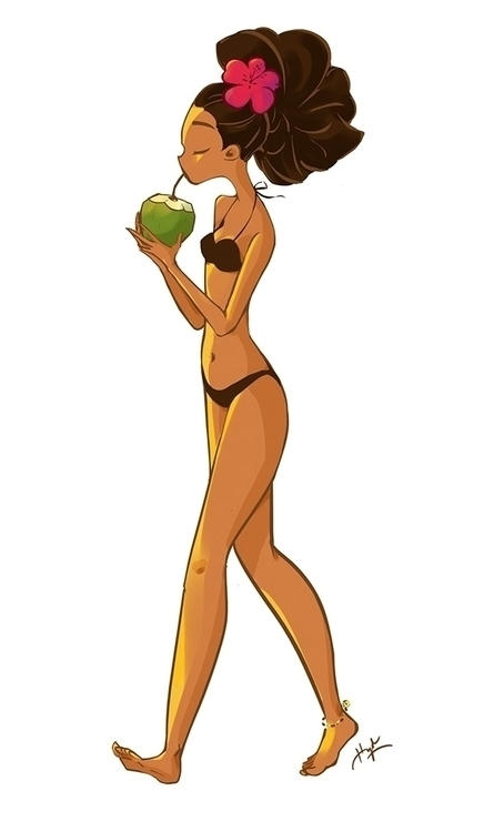 girl, coconut, hawaii - killienhuynh | ello