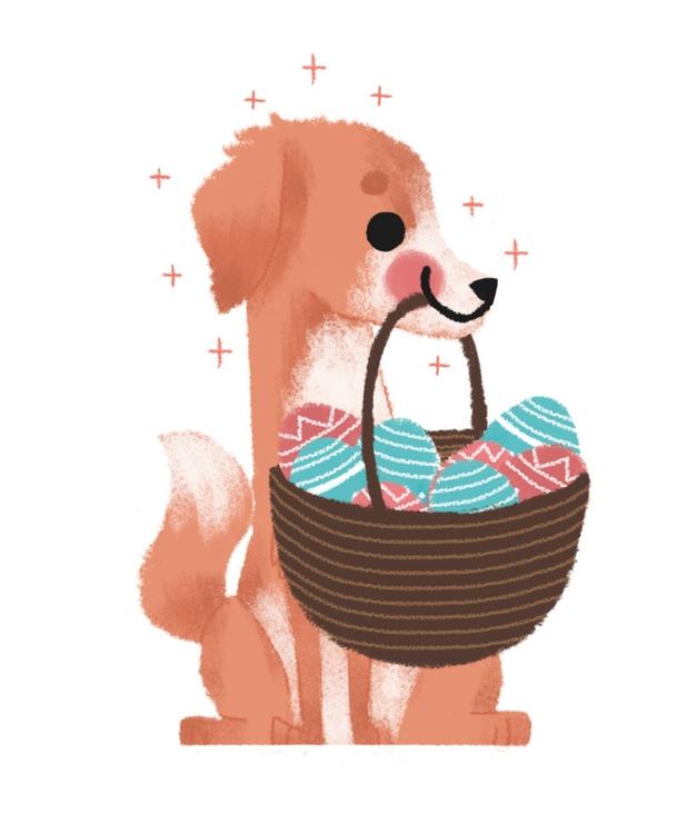 dog, illustration, easter, eggs - mabelalarcon | ello