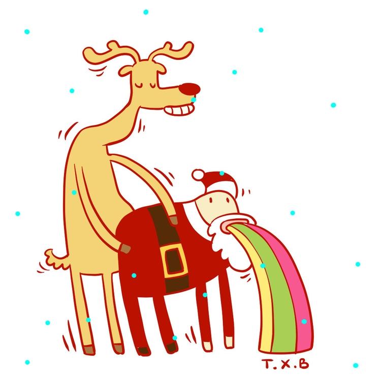 fuck, illustration, christmas - xuan_bachtruong | ello